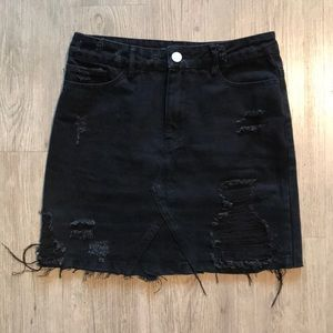 High-waisted black jean skirt from Nasty Gal